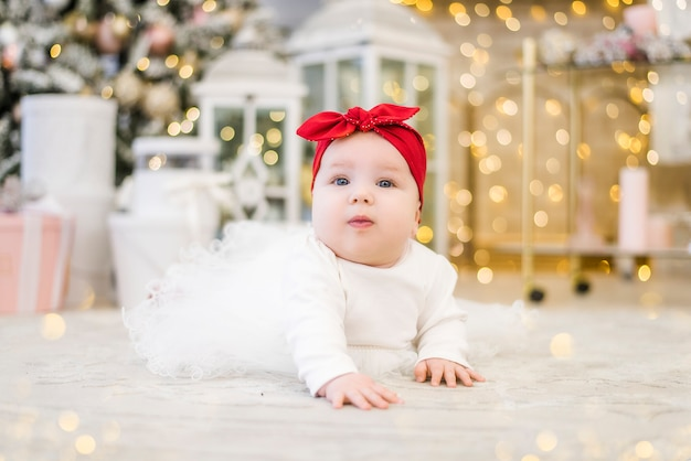 Little girl on the background of christmas lights