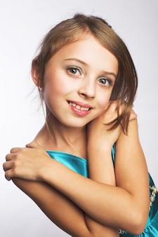 Little girl in blue dress