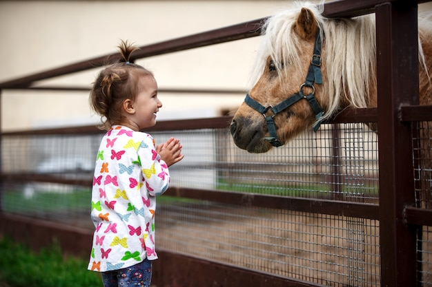 Little girl of caucasian appearance enjoys a pony horse in a stable on a farm. happy child, communication with animals, zoo, emotions.