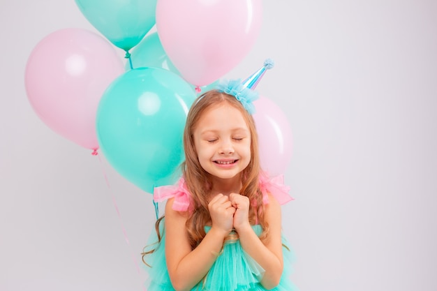 A little girl celebrates her birthday in the studio