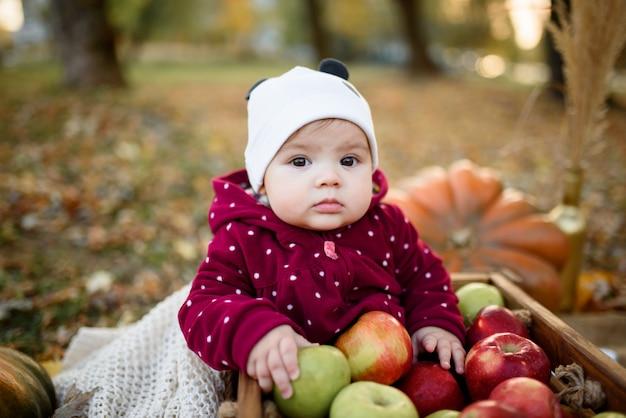 Маленькая девочка выбирает яблоко для первого кормления