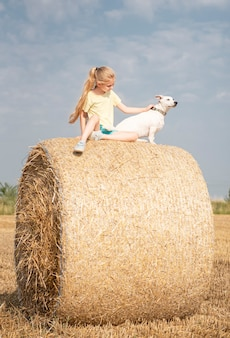 Little girl and dog having fun in a wheat field on a summer day. child playing at hay bale field during harvest time.
