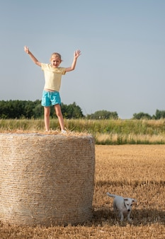 Little girl and dog having fun in a wheat field on a summer day