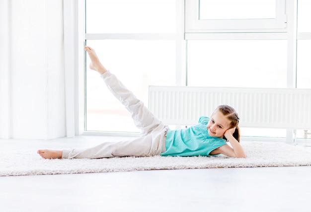 Little girl doing workout