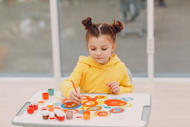 Маленькая девочка рисунок художественное изображение. живопись кистью и гуашью.