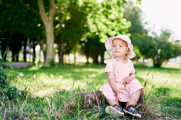 Little girl in a dress and a panama hat sits on a tree stump on a green lawn