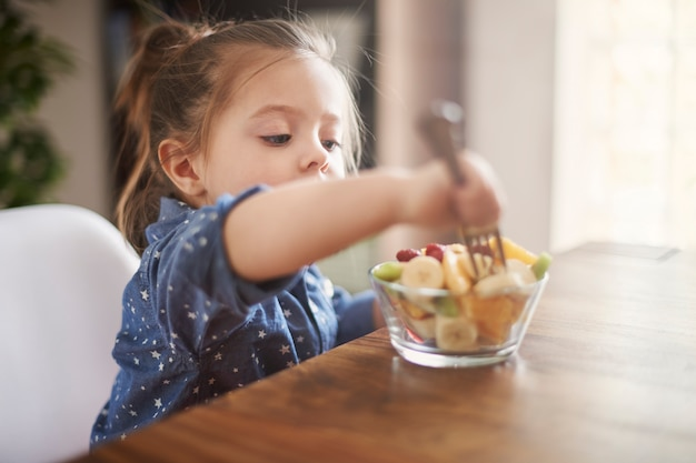 Маленькая девочка ест фрукты