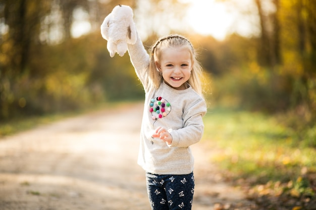 Little girl in forest