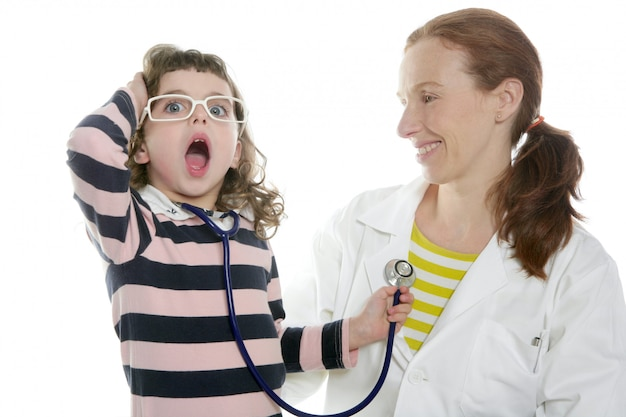 Little girl gesture pretending doctor