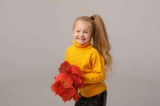 A little girl holds a bouquet of autumn leaves on a gray space