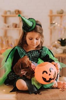 カーニバルのハロウィーンの衣装とダックスフントの少女がキッチンに座っています