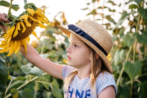해바라기 밭에서 노는 밀짚모자를 쓴 어린 소녀, 해바라기 여름 배경의 아이들