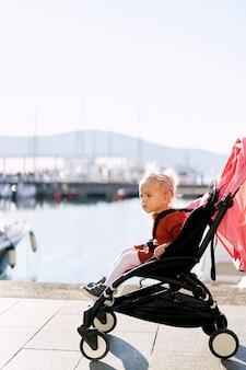 Маленькая девочка в терракотовом платье и белых колготках сидит в розовой коляске на пирсе.