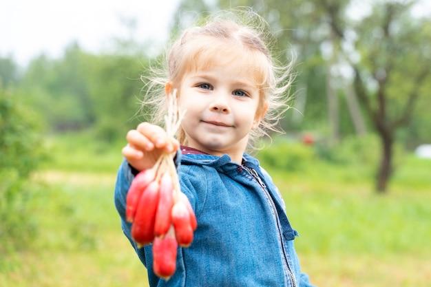 自然の中でデニムジャケットの少女は大根の束を保持しています