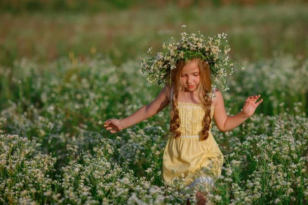 夏を歩く彼女の頭に花輪を捧げる野原の少女