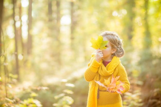 秋の花束の後ろから外を眺める少女を残します。子供時代。秋の公園で黄色の葉の上に小さな女の子が隠れています。