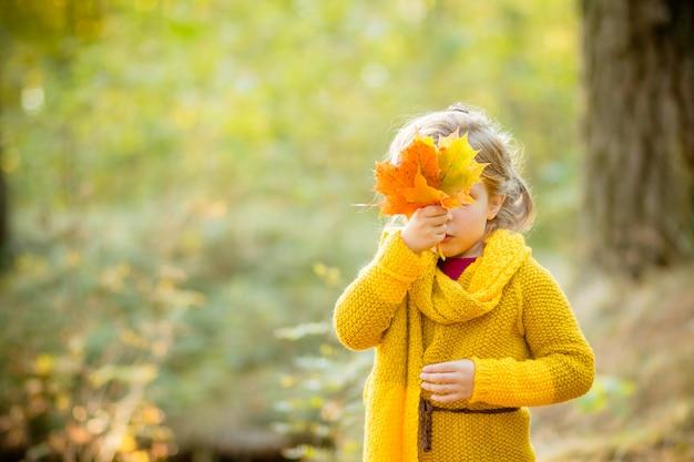 秋の花束の後ろから外を眺める少女を残します。秋の公園で黄色の葉の上にかわいい女の子が隠れています。