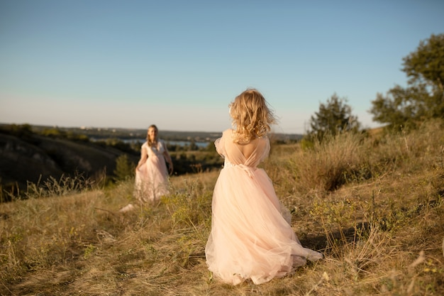 A little girl in a pink princess dress goes to meet her mom
