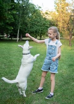 개 품종 잭 러셀 테리어와 노는 어린 소녀