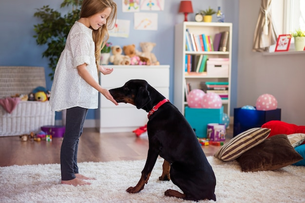 Маленькая девочка играет с собакой дома