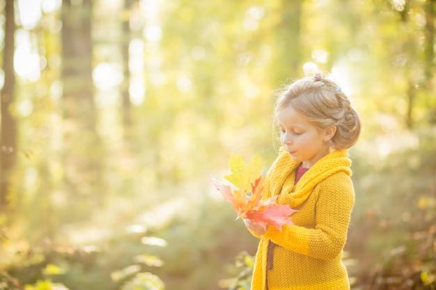 Маленькая девочка играет с листьями. осенний фон природы.
