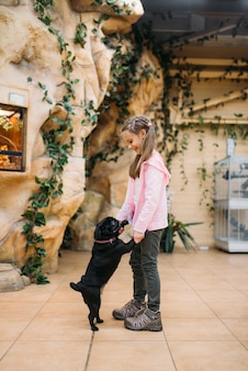 Little girl plays with funny puppy in pet shop, friendship. kid with dog in petshop, caring for domestic animals