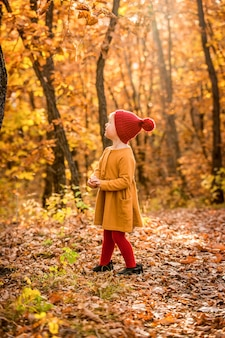 Little girl in the red knitted hat walking in the autumn forest