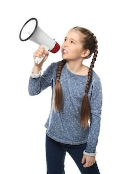 Little girl shouting into megaphone on white