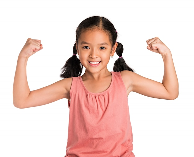 Little girl shows her strong