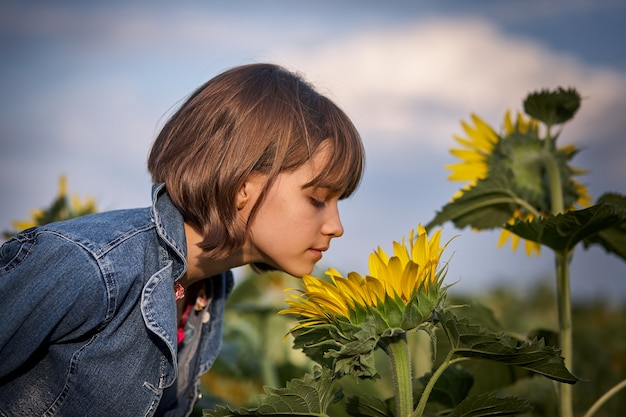 Little girl smelling sunflowers in field