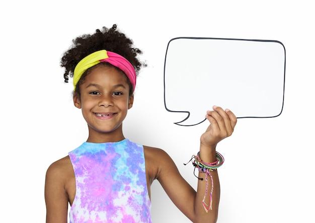 Little girl smiling happiness speech bubble copy space portrait