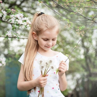 Little girl in a spring garden with white dandelions in her hands Premium Photo