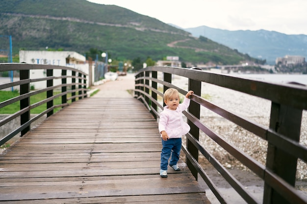 Little girl stands on a wooden bridge by the water