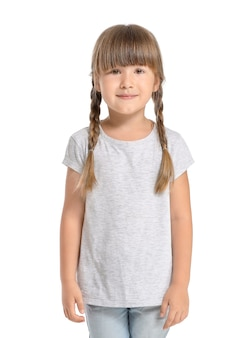 Little girl in stylish t-shirt on white