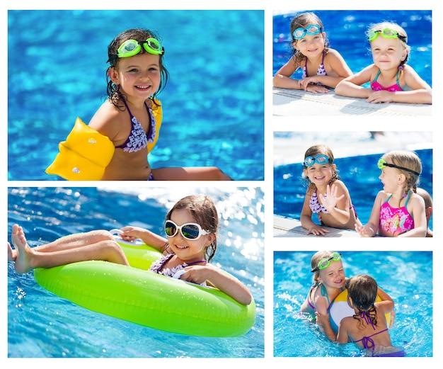 Little girl swims in  pool