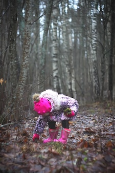 Little girl walks outdoors and picking mushrooms in forest autumn day in countryside.