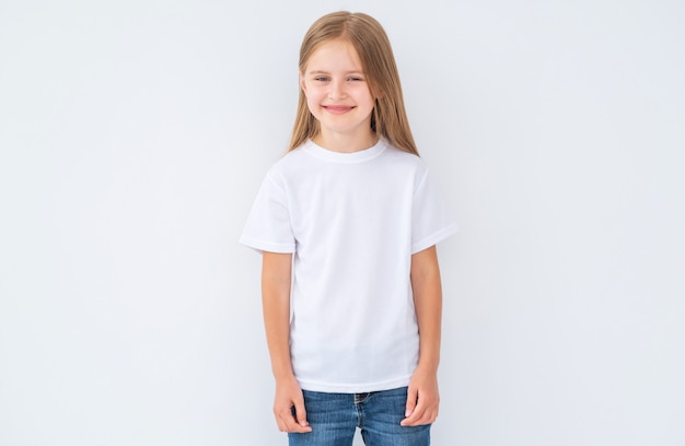 Little girl in white blank t-shirt