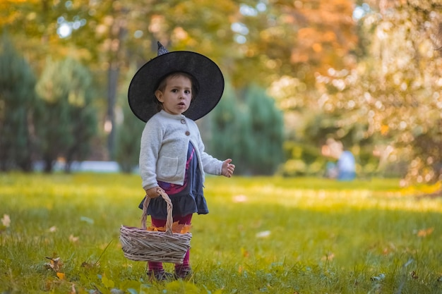 Little girl in witch costume at halloween in autumn park with basket full of yellow leaves childhood
