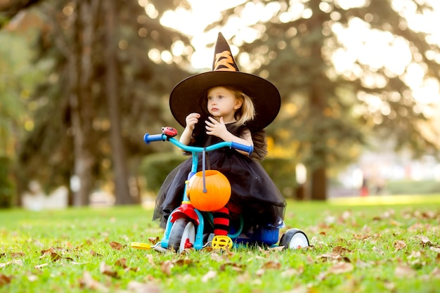 Little girl in a witch costume for halloween is sitting on a tricycle with a basket for sweets