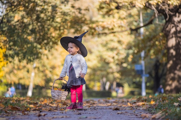 Little girl witch walks in the autumn forest with a basket of leaves