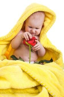 白い背景で隔離の赤いバラの少女