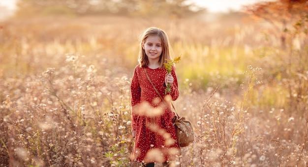 暖かい秋の公園を歩いているバッグと花を持つ少女