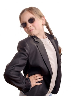 Little girl with black jacket and sunglasses