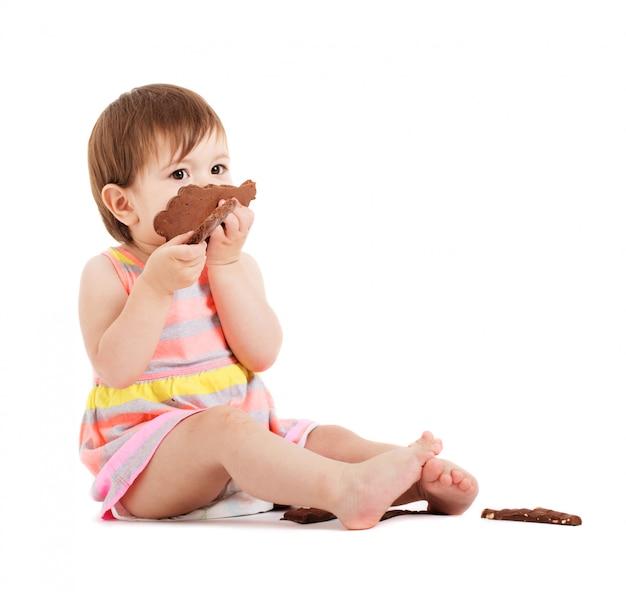 白で隔離されるチョコレートの少女