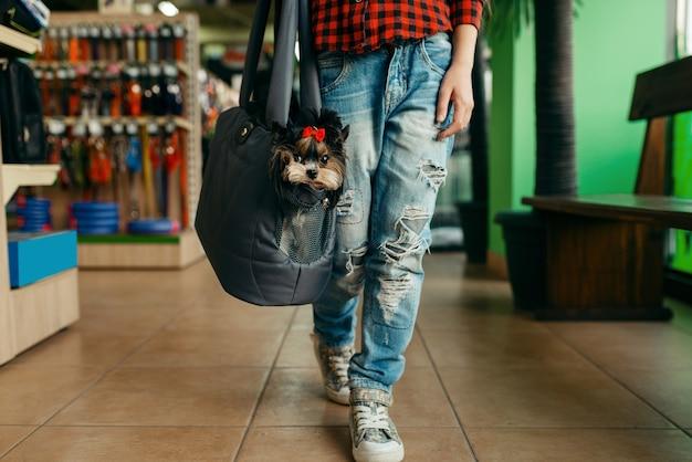 ペット ショップのバッグに子犬を持つ少女。ペットショップで子供を買う道具、家畜のアクセサリー