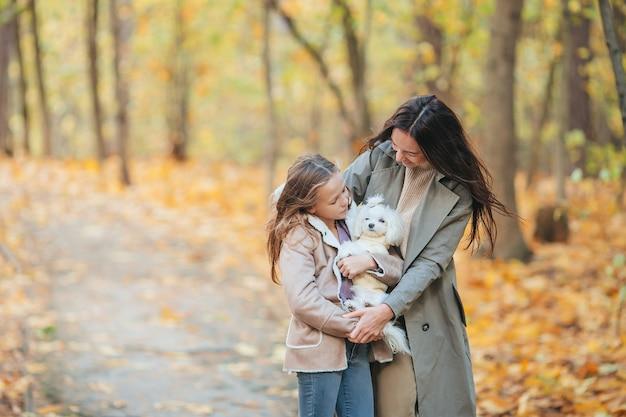 秋の日に公園で屋外のお母さんと小さな女の子