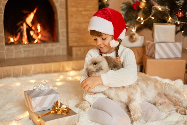 Little girl with pekingese dog posing in holiday room, sitting on floor on soft carpet near fireplace and fir tree with her favorite pet, child hugging puppy, wearing santa hat.