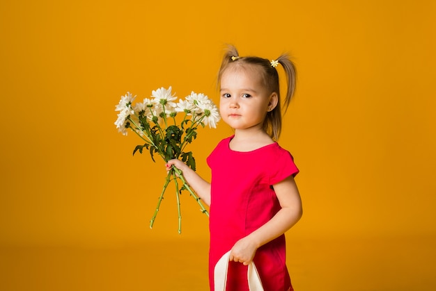 A little girl with ponytails in a red dress stands and holds a bouquet of white flowers on a yellow surface with space for text