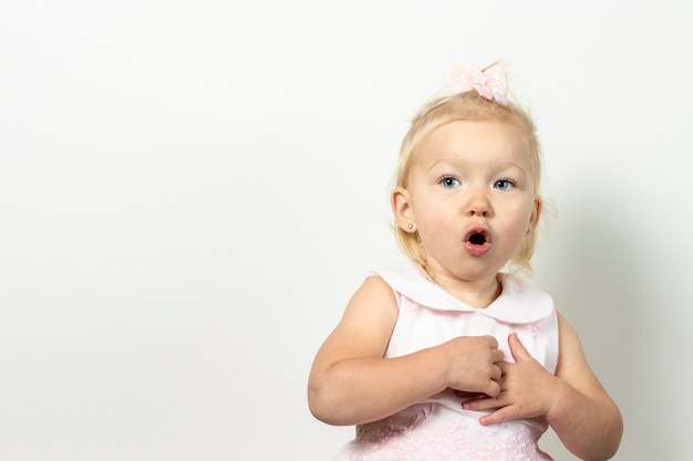 Little girl with a surprised face on a light background.