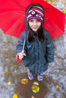 Little girl with umbrella at the rainy day